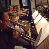 "The brass section for Susan Kohler's ""Just Harold"" sessions: Bryant Byers and Scott Whitfield on trombones; Carl Saunders, Bob O'Donnell and Anne King on trumpets"