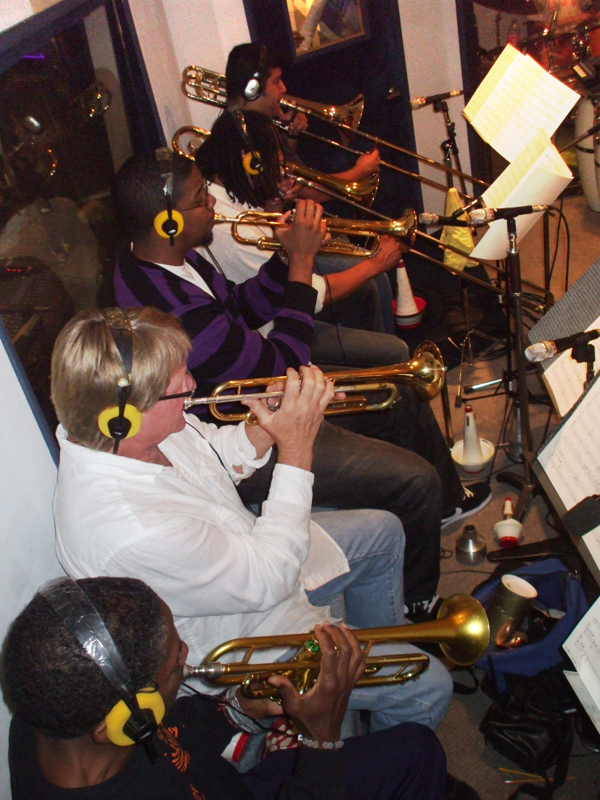 "Nolan Shaheed on 2nd Trumpet, Jon Papenbrook on 1st Trumpet, Brandon Phillips on 3rd Trumpet, Duane Benjamin on Trombone and Denis Jiron on Bass Trombone comprise the brass section for Mel Carter's ""The Other Standards"" big band recording sessions at Theta Sound Studio"