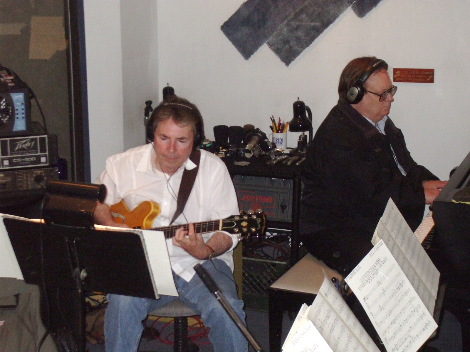"Grant Geissman and John Rodby during Mel Carter's ""The Other Standards"" recording sessions at Theta Sound Studio"