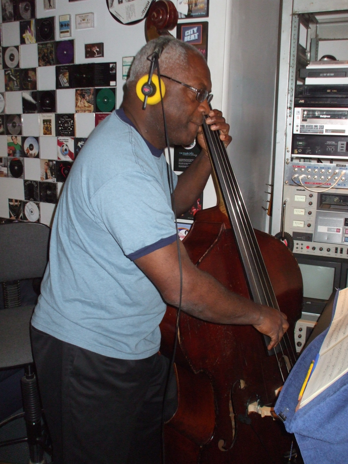 """James Leary on bass in the Control Room for Mel Carter's """"The Other Standards"""" big band recording sessions at Theta Sound Studio"""