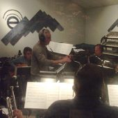 "Arranger and musical director Nick Fryman conducting the big band for Susan Kohler's ""Just Harold"" recording sessions at Theta Sound Studio"