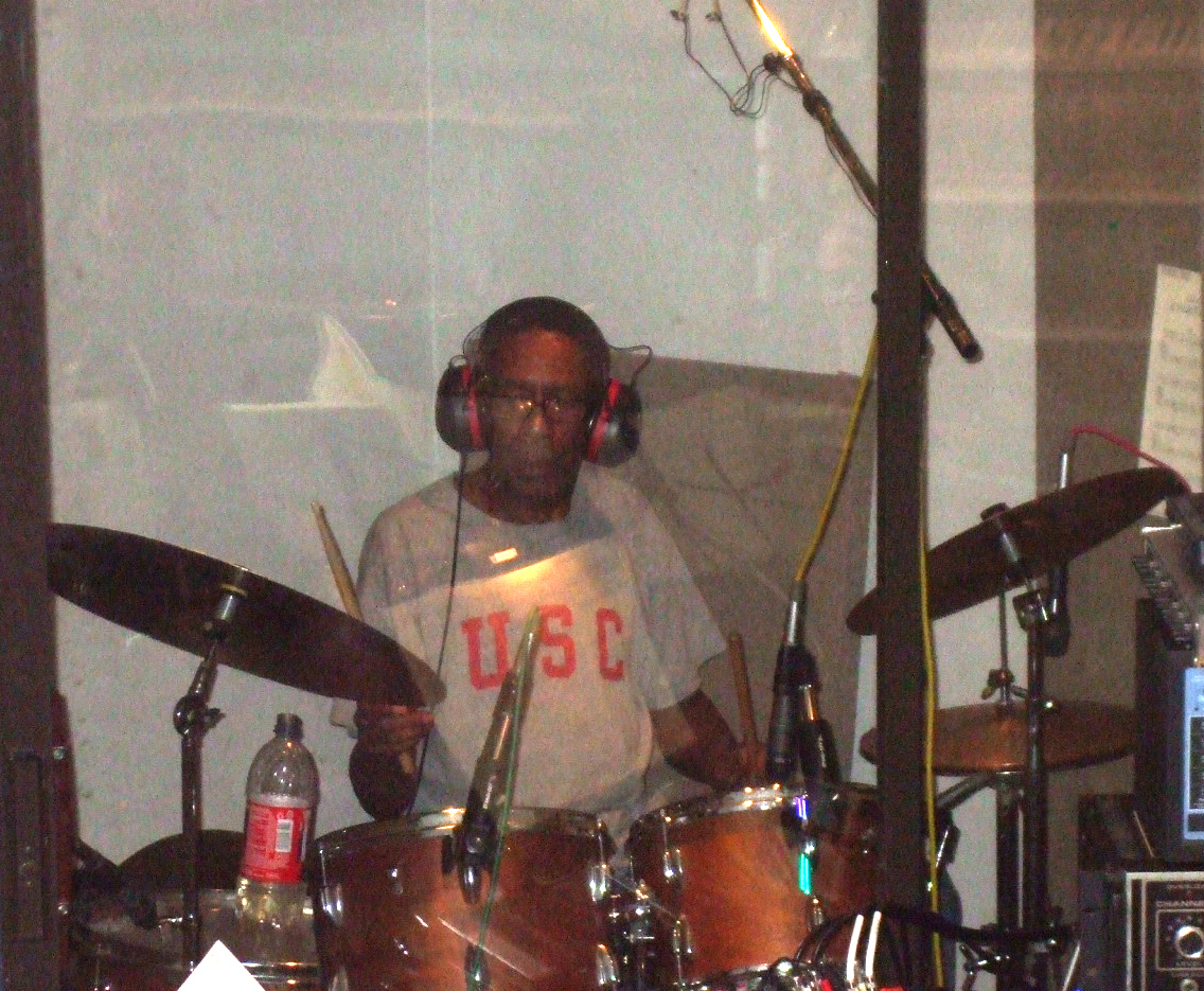 """Quentin Dennard in the drum booth, laying it down for Mel Carter's """"The Other Standards"""" recording sessions at Theta Sound Studio"""