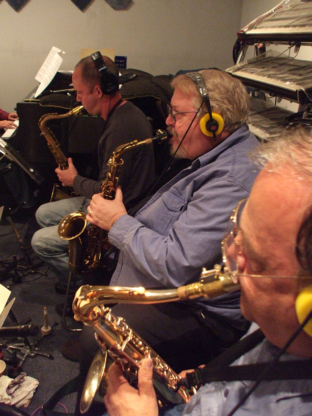 "The saxophone section for Susan Kohler's ""Just Harold"" sessions: Roger Neumann, Rusty Higgins and Glenn Morrissette"