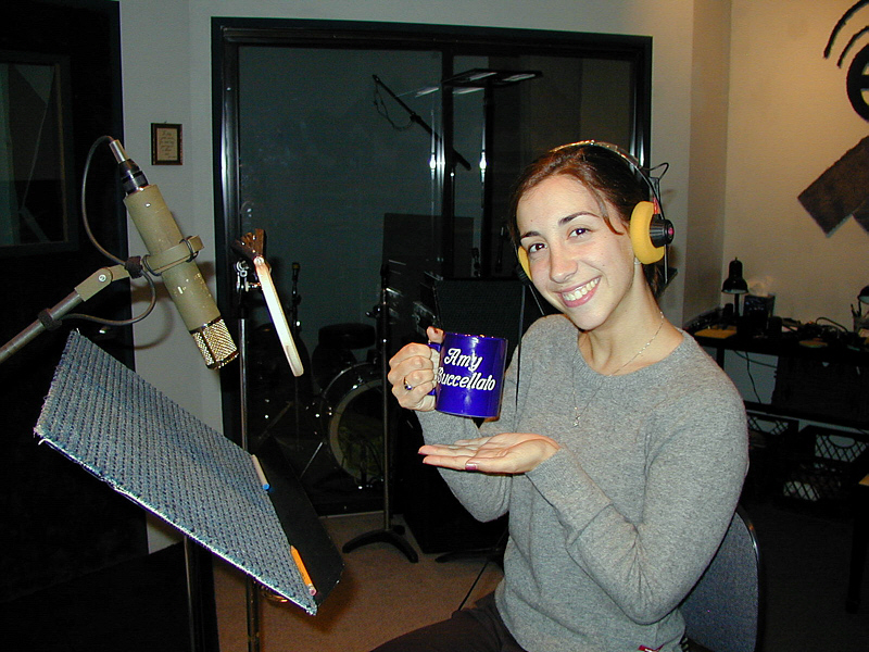 "Amy trys out her new Mug Club mug before tracking a vocal from her album ""Vocalessence."" Want to hear how it all turned out? Visit <a href=""http://VocalessenceByAmy.com"" target=""_blank"">VocalessenceByAmy.com</a>"