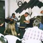 Steve Schalchlin (at the piano) and Bobby Cox performed material from Steve's CD and off-Broadway Musical, The Last Session, at the second Theta Sound Coffee House.
