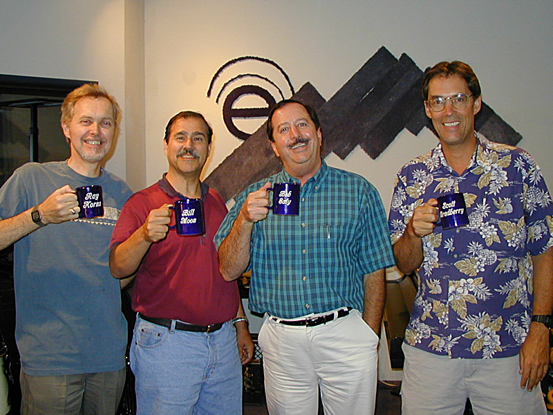 "Chairmen of the Chord is a vocal quartet that sings in the styles of Barber Shop, Doo Wop, and Jazz. The group recorded their first album ""Initial Public Offering"" at Theta Sound Studio and are shown here proudly displaying their well-earned Mug Club hardware. Like most a cappella vocal groups, the wit is sharp but the notes are true."