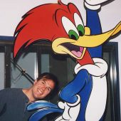 Woody Woodpecker at Theta Sound Studio with theme producer Jim Latham leaning in.