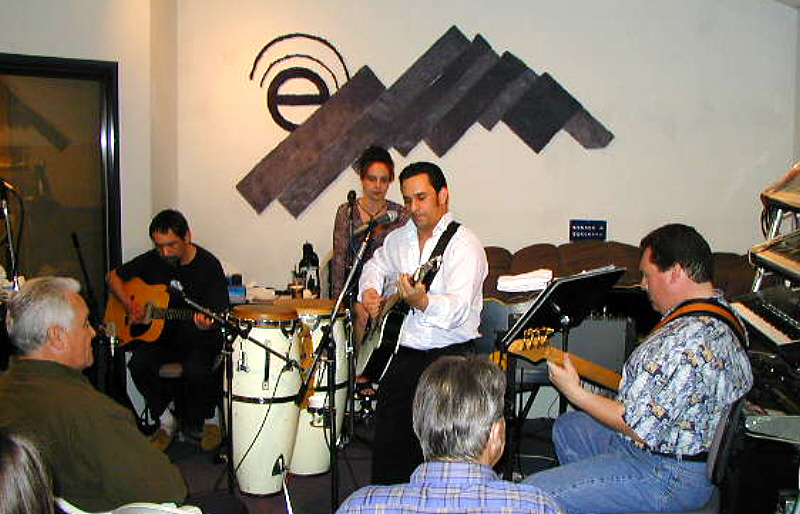 Lennon Scott and his band performing live for an  invited audience at Theta Sound