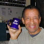 Vocal legend Mel Carter with his new Mug Club mug at Theta Sound Studio