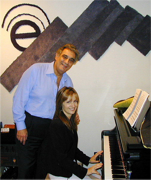 "Placido Domingo and his accompanist Catherine Miller during rehearsal recordings at Theta Sound Studio for L.A.Opera's original work, ""Nicholas and Alexandra."""