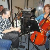 RANDY SETTING UP MIC FOR CELLIST – HARRIET SCHOCK'S SET