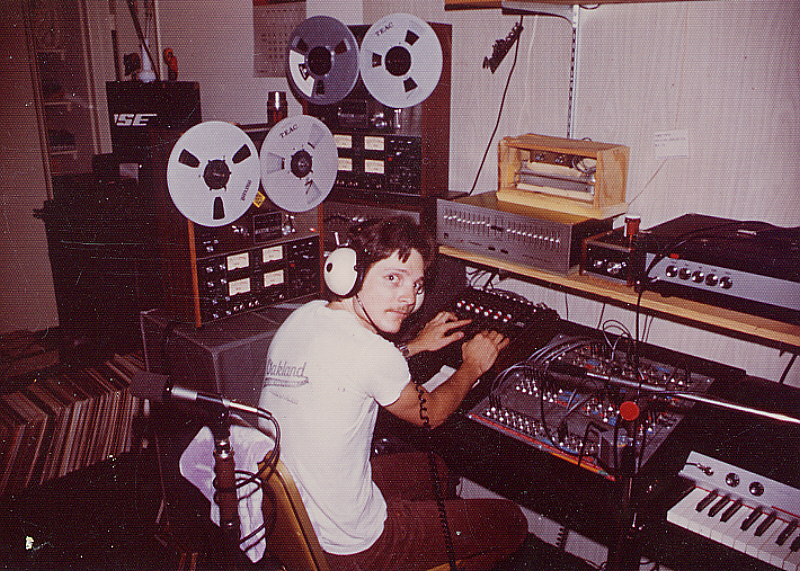 Circa 1977, the beginnings of Theta Sound Studio, Randy Tobin at the controls surrounded by various off-the-shelf and hand-built studio hardware.