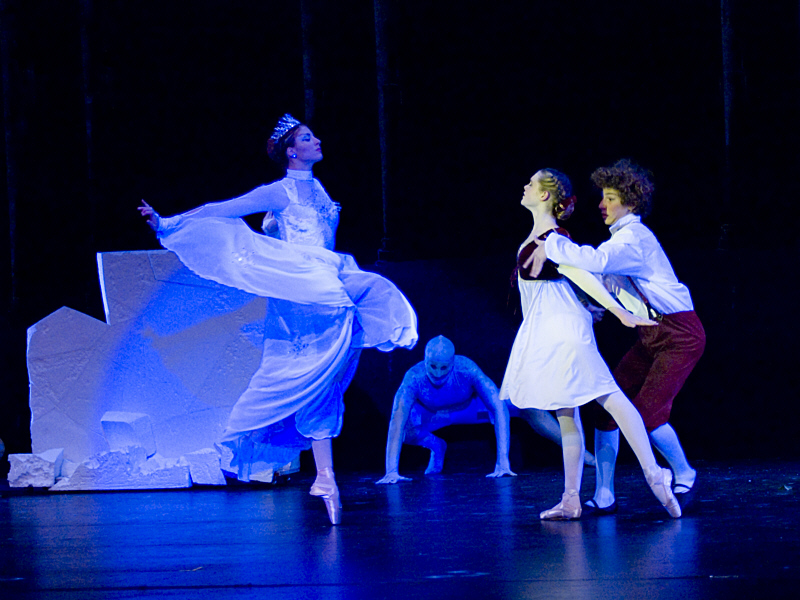 "The Snow Queen attempting to pull Kai back under her spell while Gerda intervenes and risks her life to save him (8th season). <a href="" http://calballet.com/upcoming-performances/snow-queen/"" target=""_blank"">Snow Queen Web Site</a>"