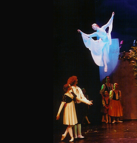 """She flies! The Snow Queen Ballet 9th season featured the Snow Queen herself flying by wire and performing two stunning aerial dances. <a href="""" http://calballet.com/upcoming-performances/snow-queen/"""" target=""""_blank"""">Snow Queen Web Site</a>"""
