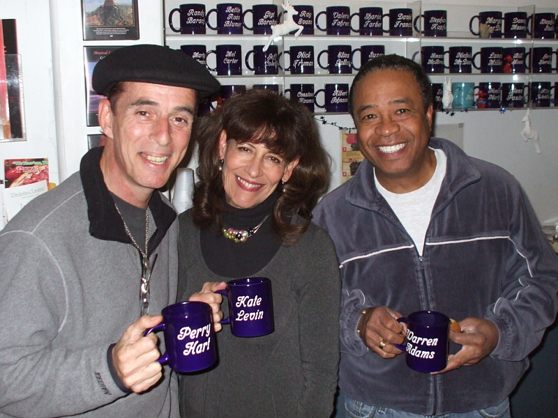 "String of Pearls is Perry Hart, Katheryne Levin and Warren Adams (shown here with their Theta Sound Mug Club hardware). They perform amazing three-part harmony jazz pieces with innovative arrangements by Perry Hart. The vocals for their latest album, ""It's about Time"" were recorded by Randy Tobin at Theta Sound Studio."