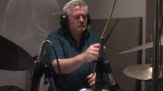 "Steve Pemberton in the drum booth, laying it down for the ""Mel Carter Continues..."" sessions at Theta Sound Studio"