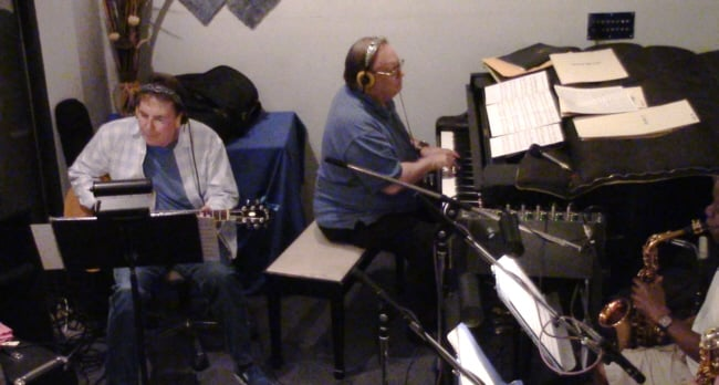 "Grant Geissman and John Rodby during the ""Mel Carter Continues..."" recording sessions at Theta Sound Studio"