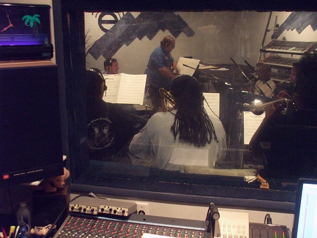 """Mel Carter Continues..."" Big Band recording session as seen from the Control Room at Theta Sound Studio"