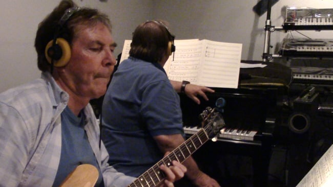 "Guitarist Grant Geissman and arranger John Rodby recording ""Something to Remember You By"" for the ""Mel Carter Continues..."" sessions at Theta Sound Studio"