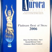 "The Aurora Platinum Best of Show Award is given for excellence in film and television productions in categories such as industry or education. This award went to Friends of Narconon for their production of the drug education DVD, ""Xtasy: The Real Story – part 1."" Randall Michael Tobin received his statuette for being the Composer and Music Producer for this powerful film."