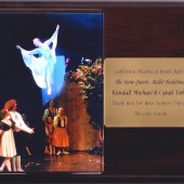 The Snow Queen Ballet's dance company, California Contemporary Ballet, has bestowed several plaques of recognition upon the ballet's composer Randall Michael Tobin. The plaque above is for the 2006 (ninth) season; the first year the Snow Queen herself took to the air, flying. The acknowledgments from California Contemporary Ballet are for Randall's continued support in ways beyond the music, namely, as a corporate sponsor and as the show program designer and print supervisor.