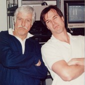 "Dick van Dyke and Jim Latham hangin' out during Dick's ""Rapper"" session for Viacom Television at Theta Sound Studio."