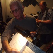 "Music director and arranger Nick Fryman distributes the charts while sax man Roger Neumann sets up during Susan Kohler's recording sessions for her third album at Theta Sound Studio, ""Just Harold"""