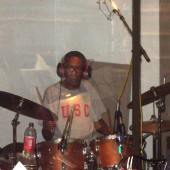 "Quentin Dennard in the drum booth, laying it down for Mel Carter's ""The Other Standards"" recording sessions at Theta Sound Studio"