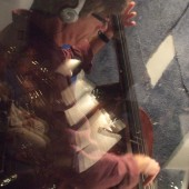 "Bassist Randy Landas in iso booth 2 during the recording sessions for Susan Kohler's ""Just Harold"" album"
